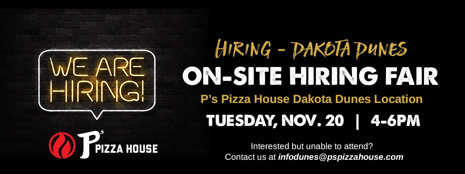 Jobs near Dakota Dunes, South Dakota - P's Pizza House - Now Hiring All Positions